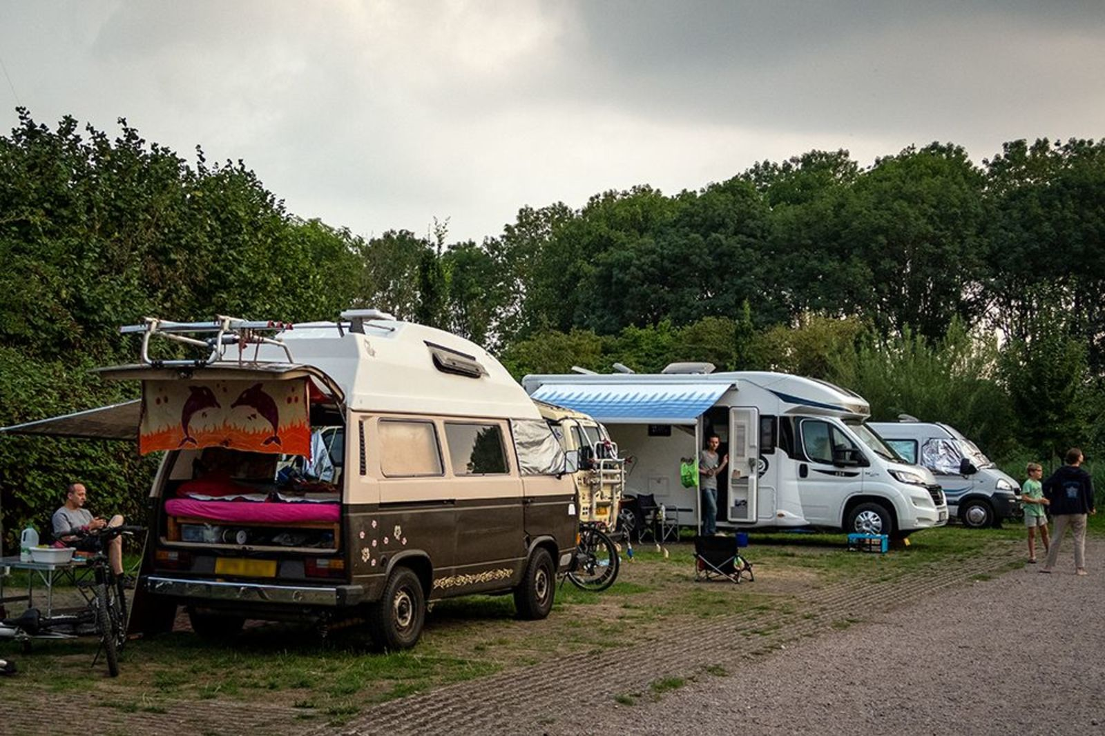 Two motorhome/caravan pitches side by side