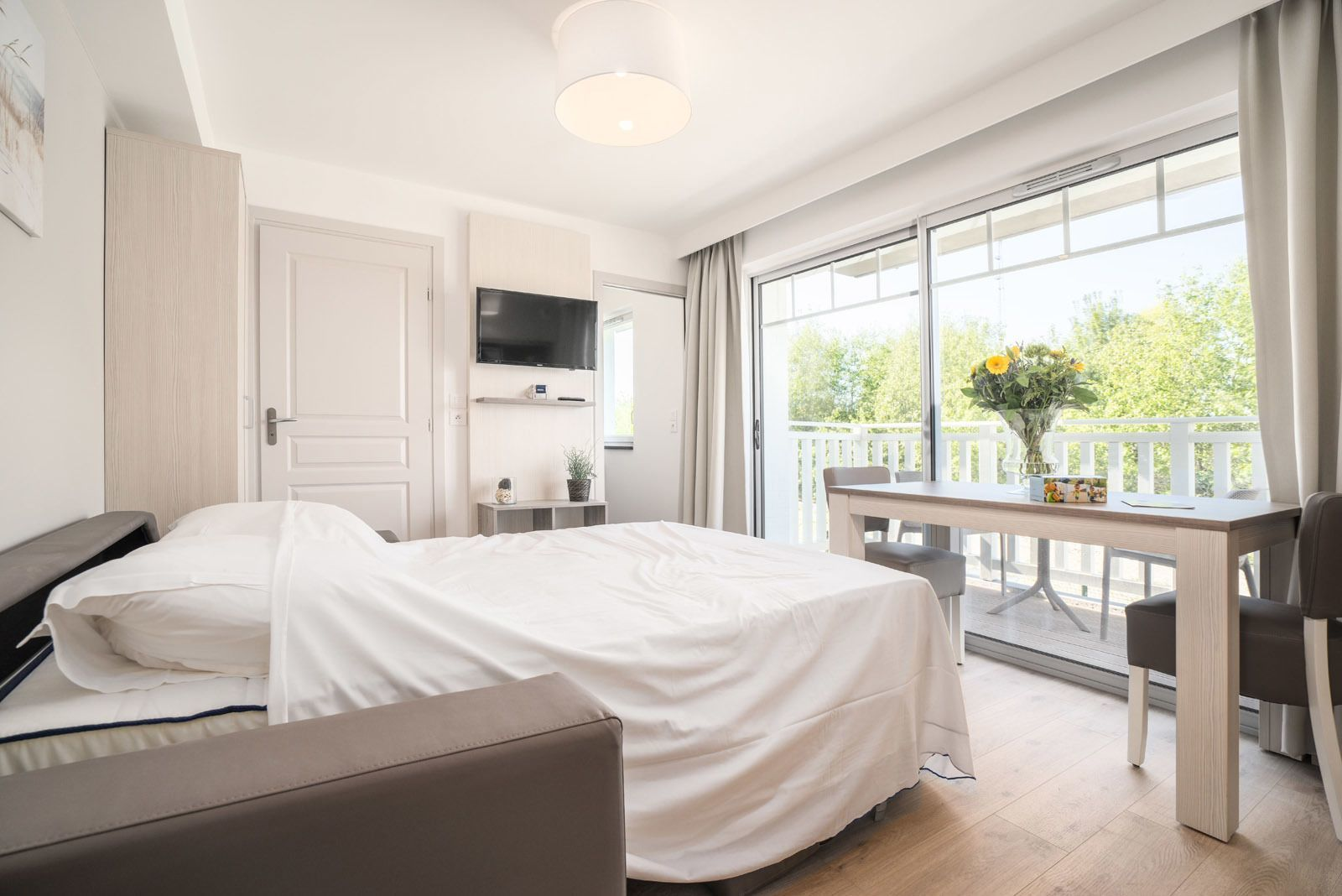 Studio pour 4 personnes avec canapé-lit et balcon