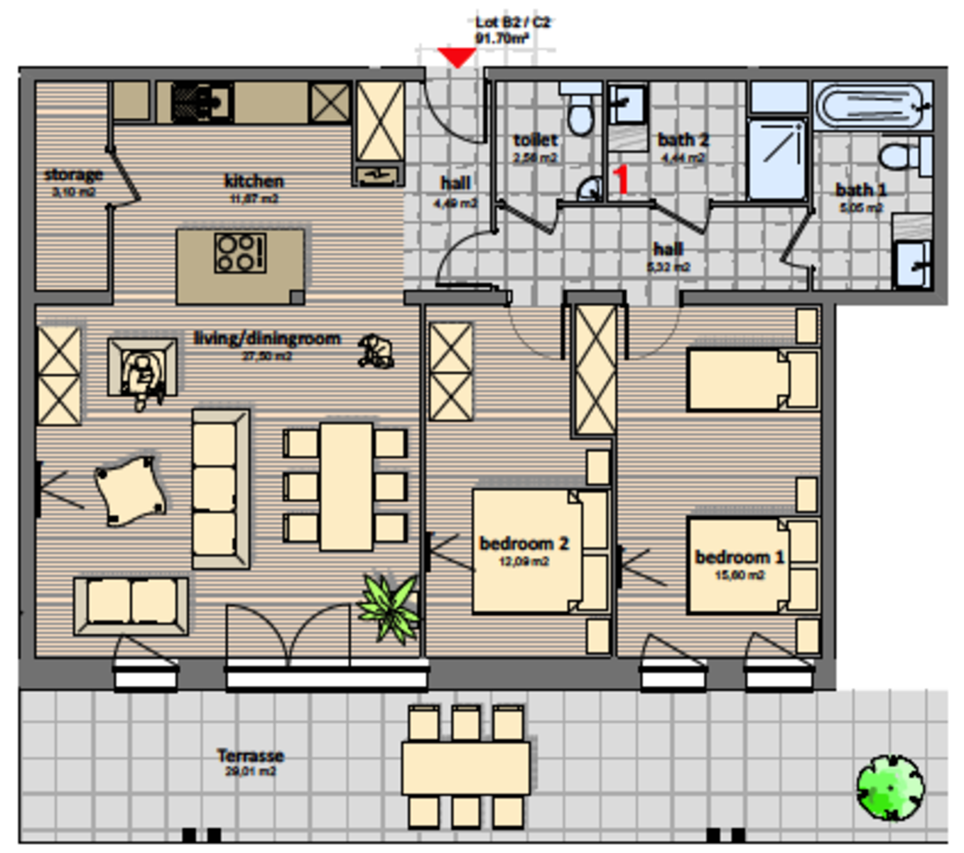Luxury 3 room apartment | 5 Pers.