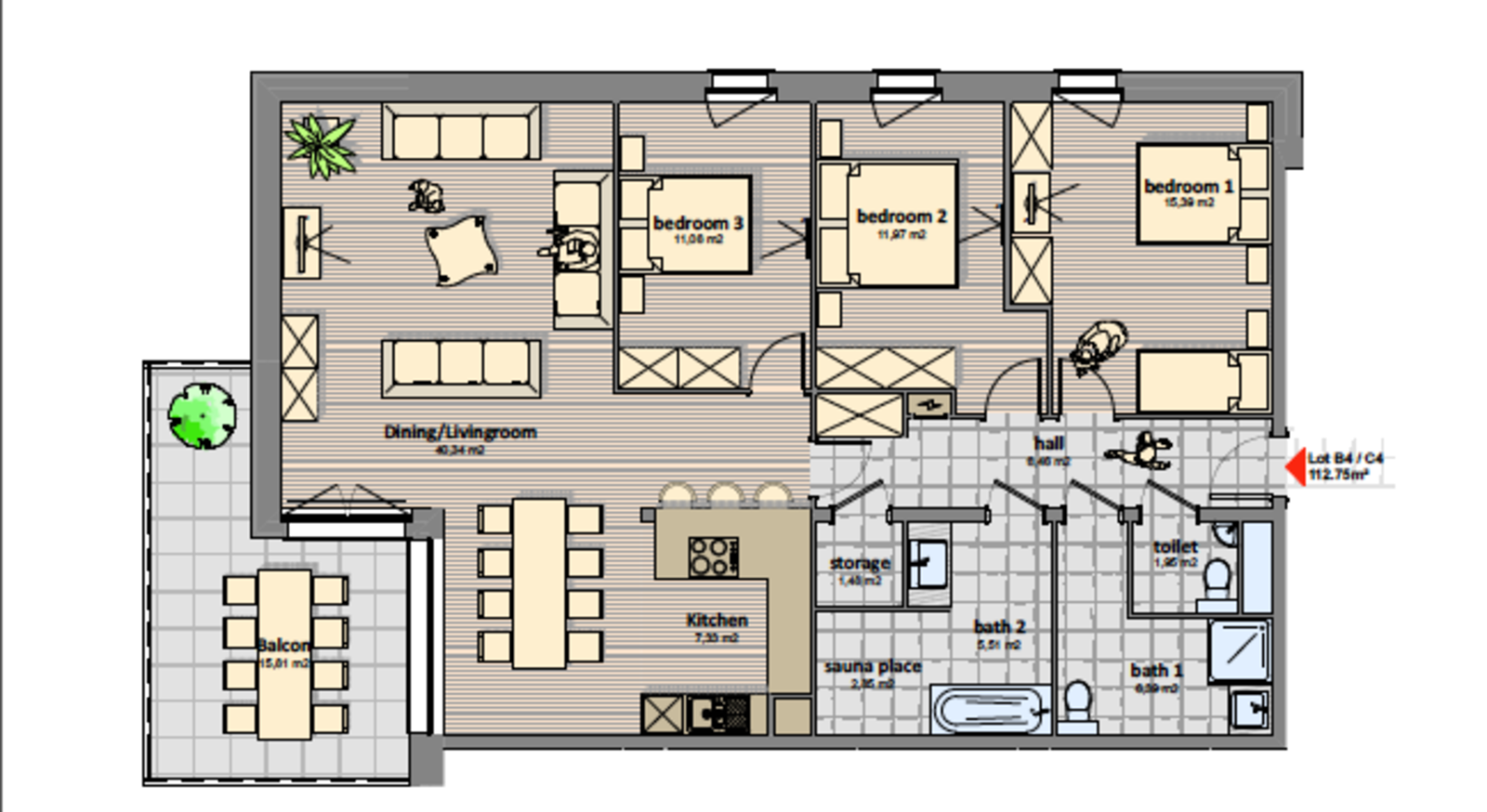 Luxury 4 room apartment | 7 Pers.