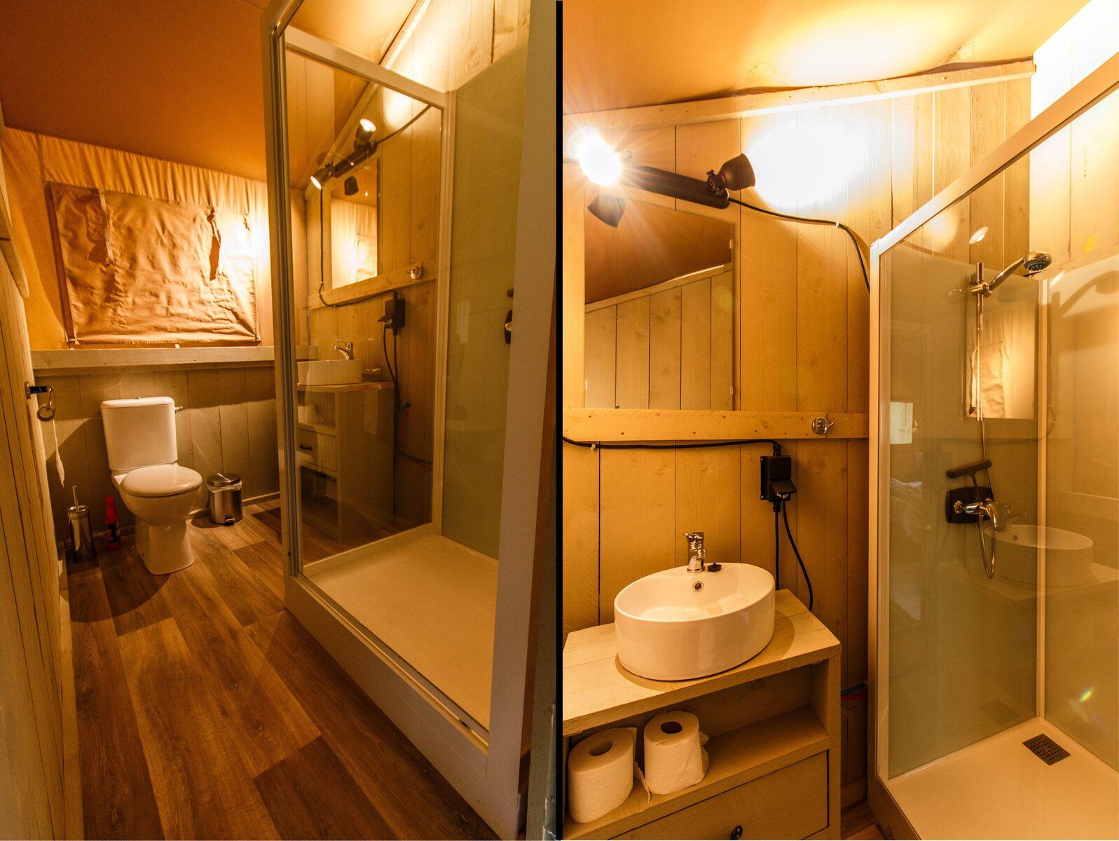 Safaritent 6 persoons met badkamer