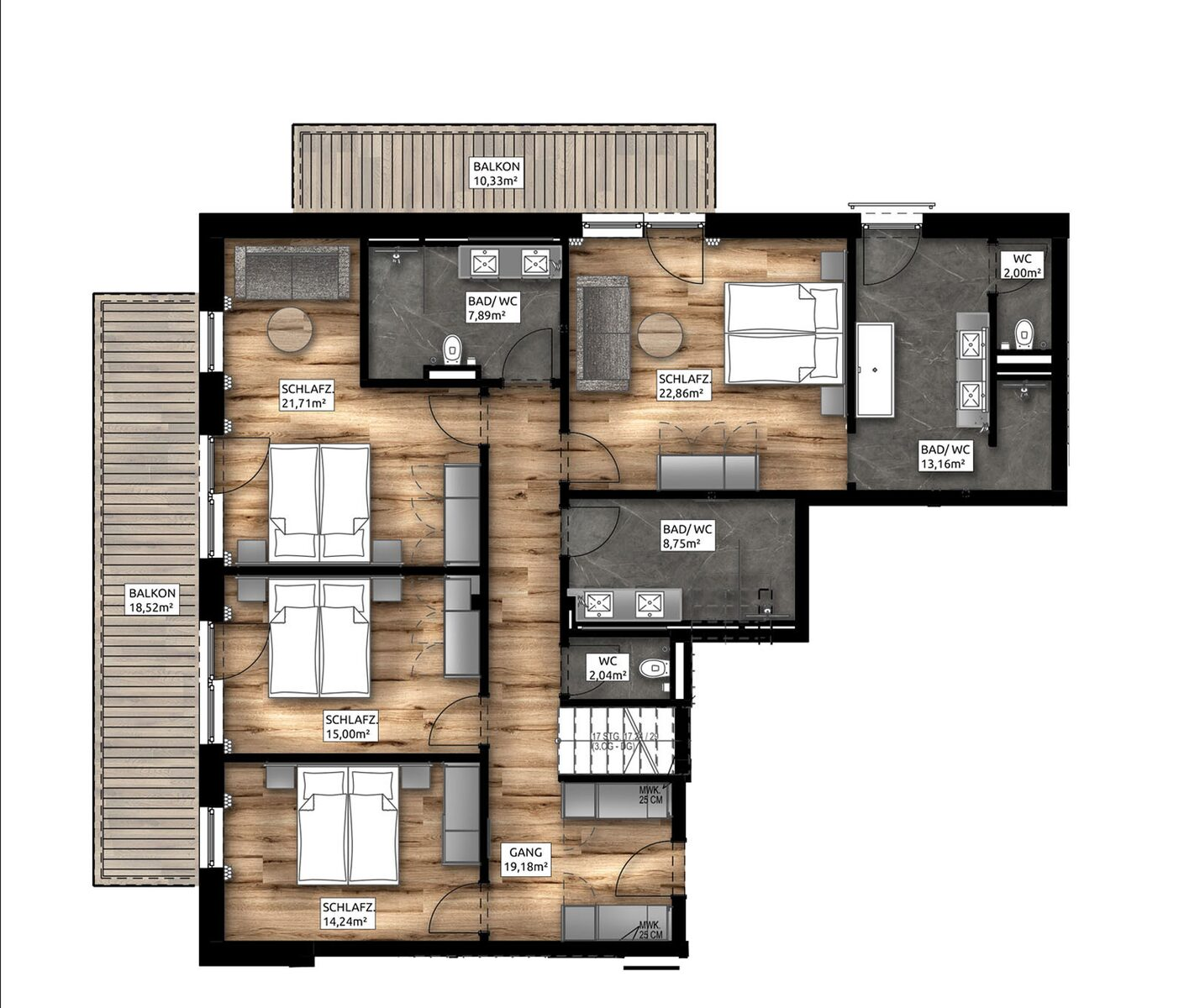 Familien-Penthouse-Apartment | 8-10 Pers.