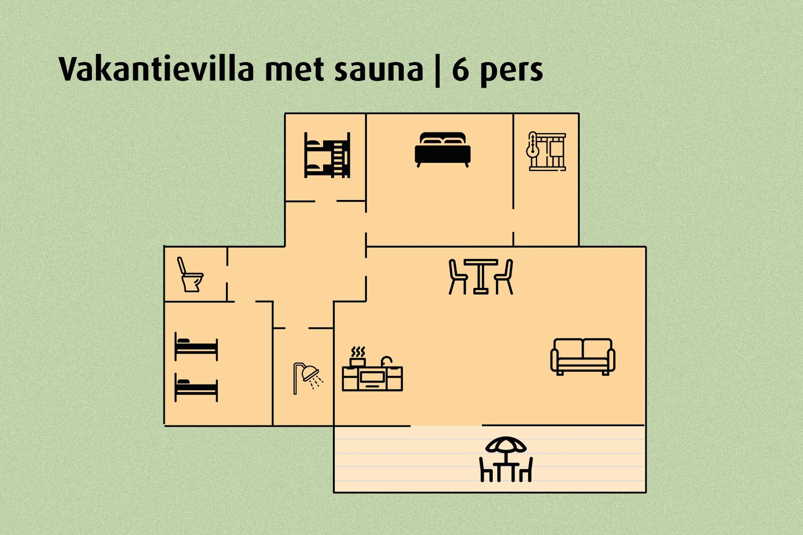 Vakantievilla met sauna | 6 pers.