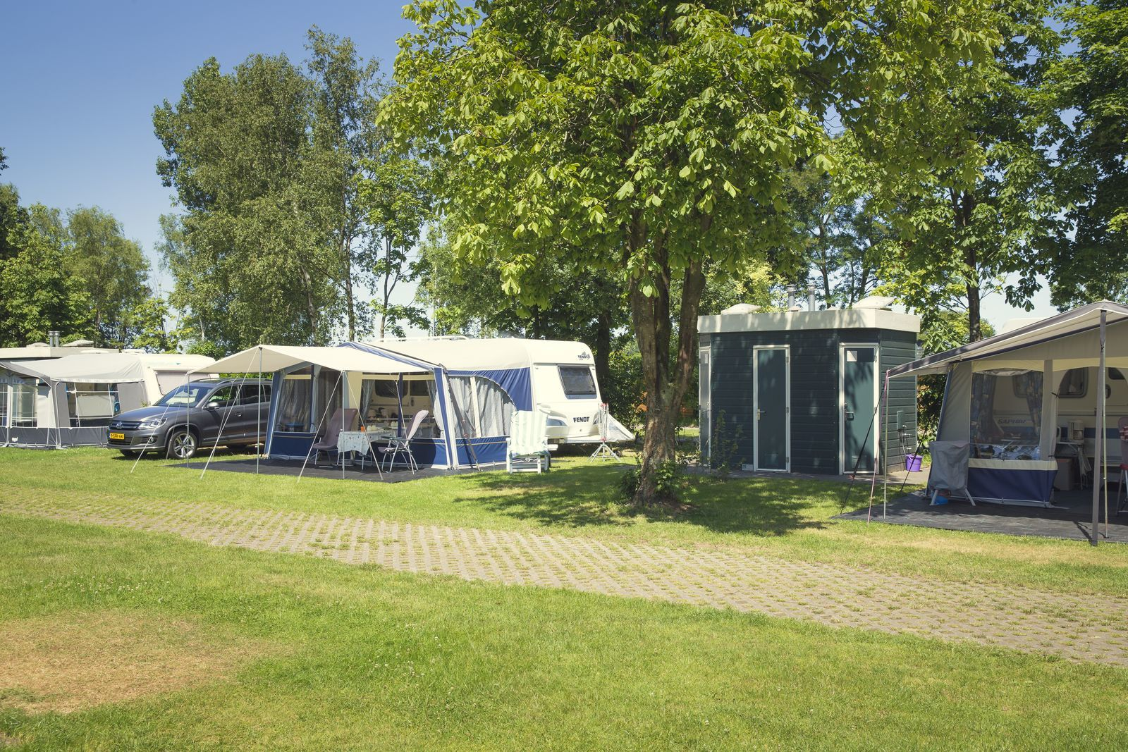Campsite with private sanitary