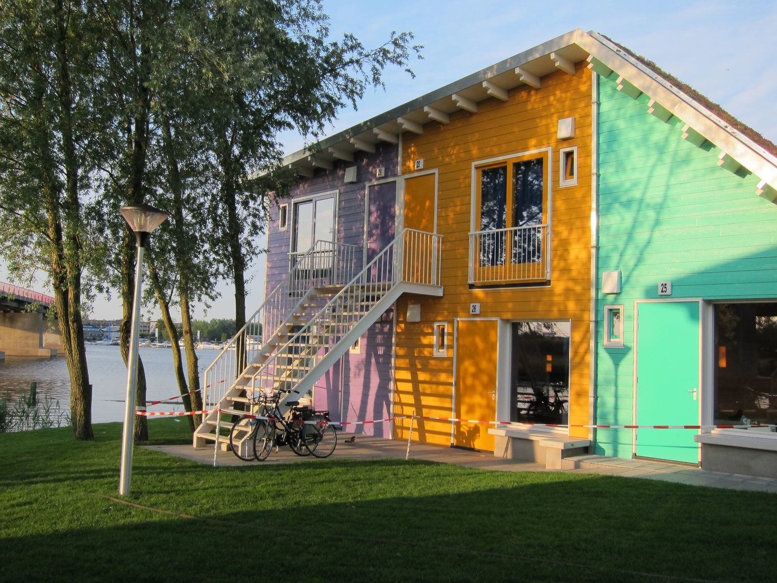 A two-person and a four-person Eco Cabin next to each other
