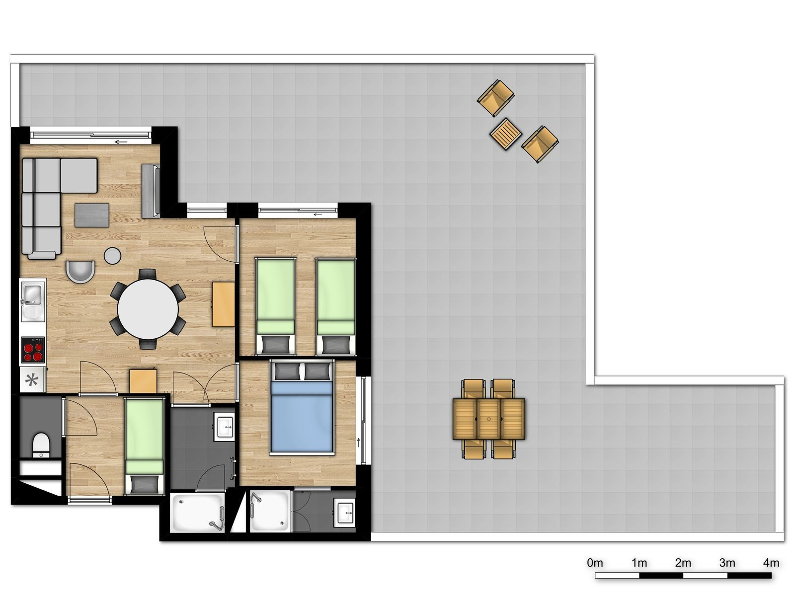 Penthouse deluxe pour 6 personnes avec 2 chambres