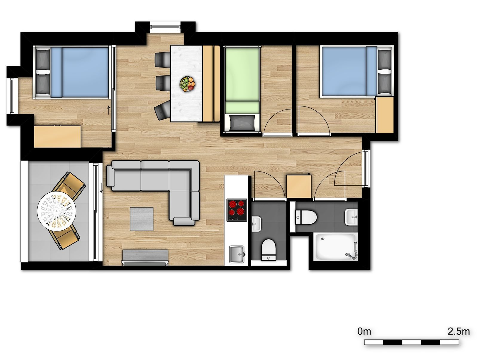 New Holiday Suite for 6 people (4 adults - 2 children)