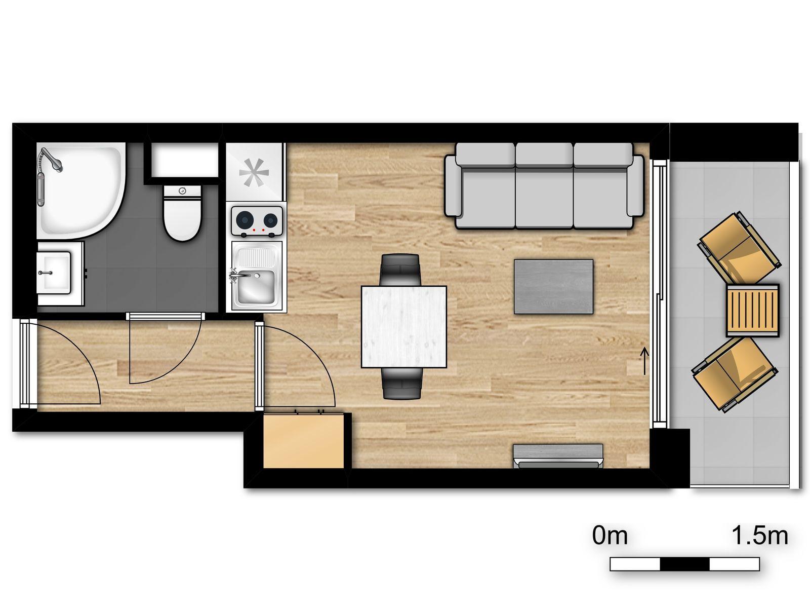 Studio pour 2 personnes avec canapé-lit