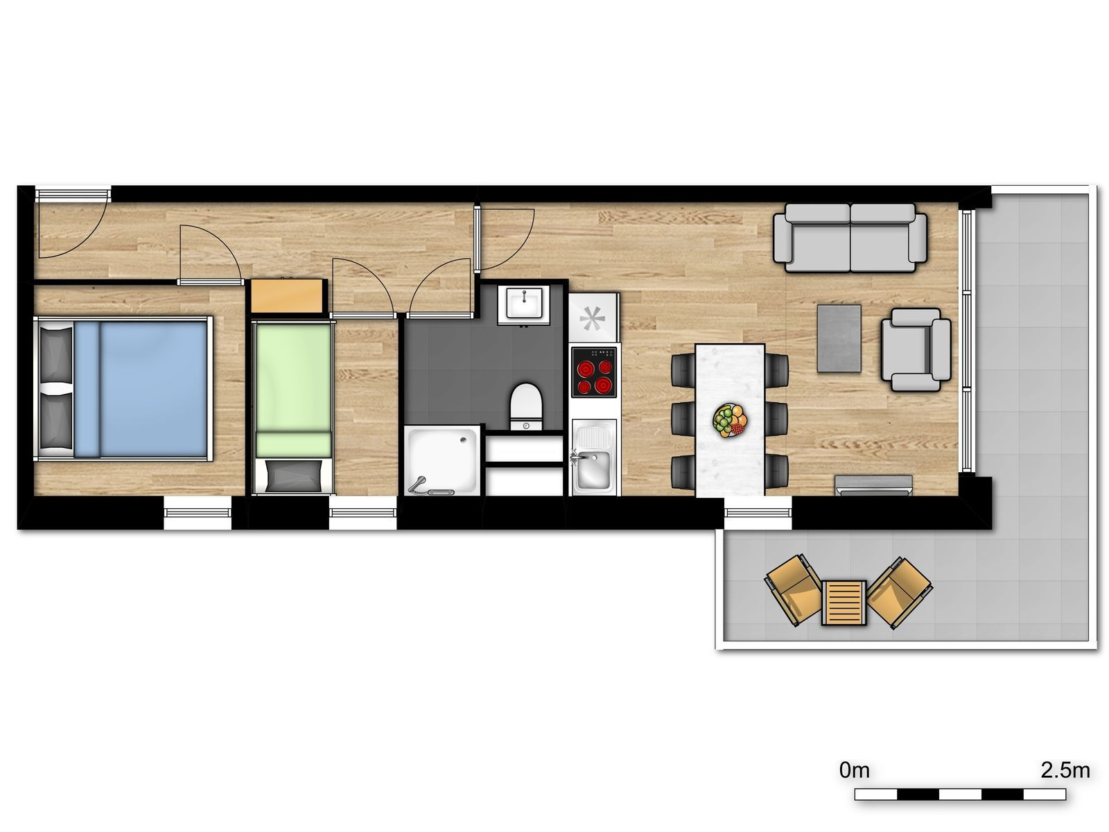 Family suite for 6 people with 2 bedrooms and balcony